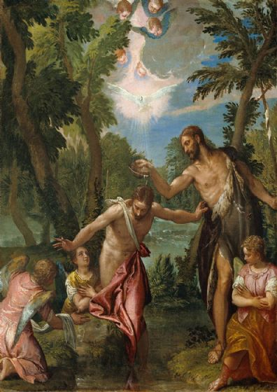 Veronese, Paolo Caliari: The Baptism of Christ. Fine Art Print/Poster. Sizes: A4/A3/A2/A1 (002026)